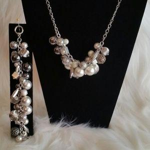 Jewelry - Silvertone Bangle Necklace & Bracelet.